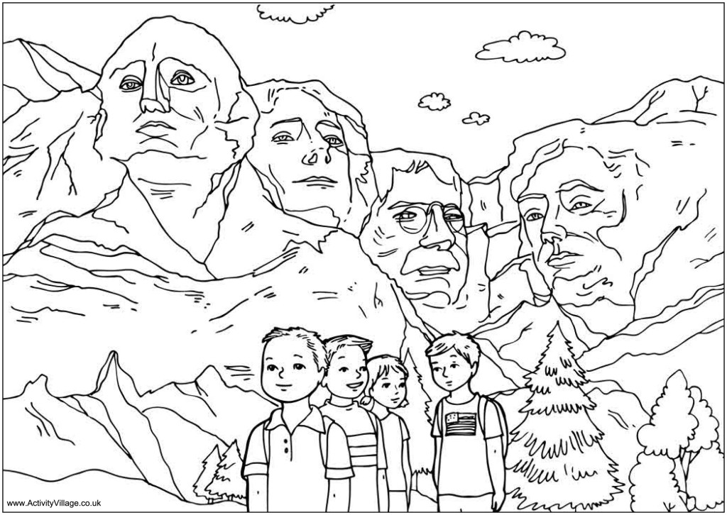 mount_rushmore_coloring_page