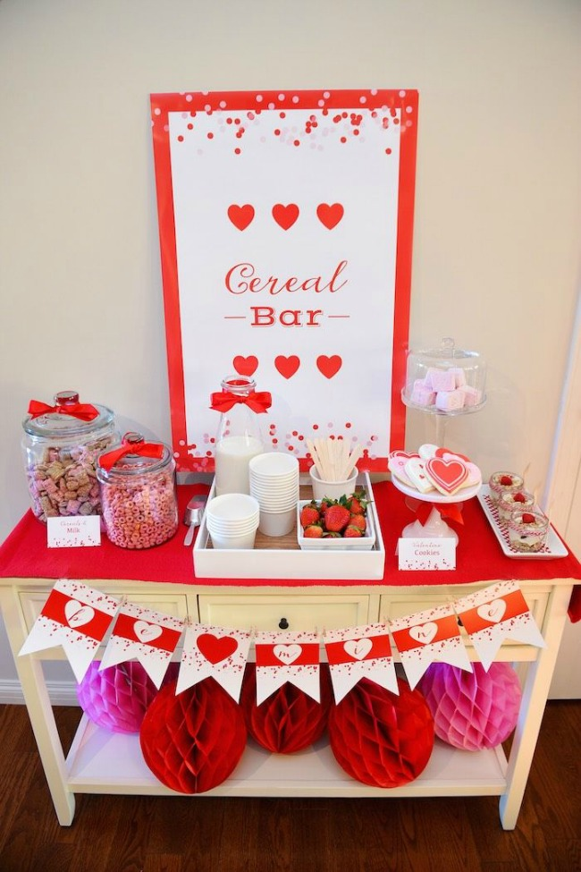 Valentine's Day Birthday Brunch - Cereal Bar