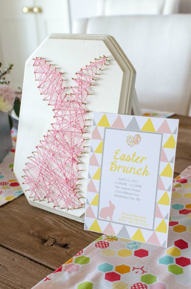 Bunny String Art and Easter Brunch Invitation