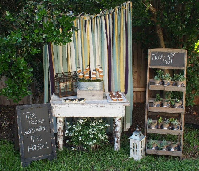 Rustic vintage graduation party theme