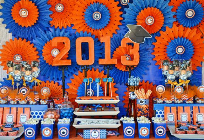 Blue and orange graduation party decorations