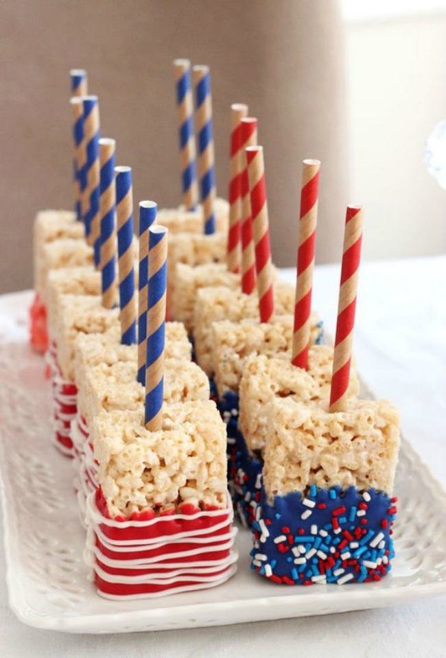 Red White and Blue firework rice krispy treat
