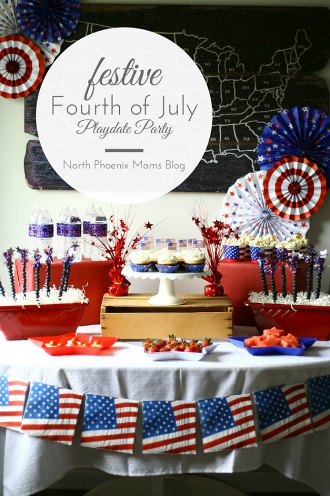 Fourth of July playdate party with kid friendly food and drinks