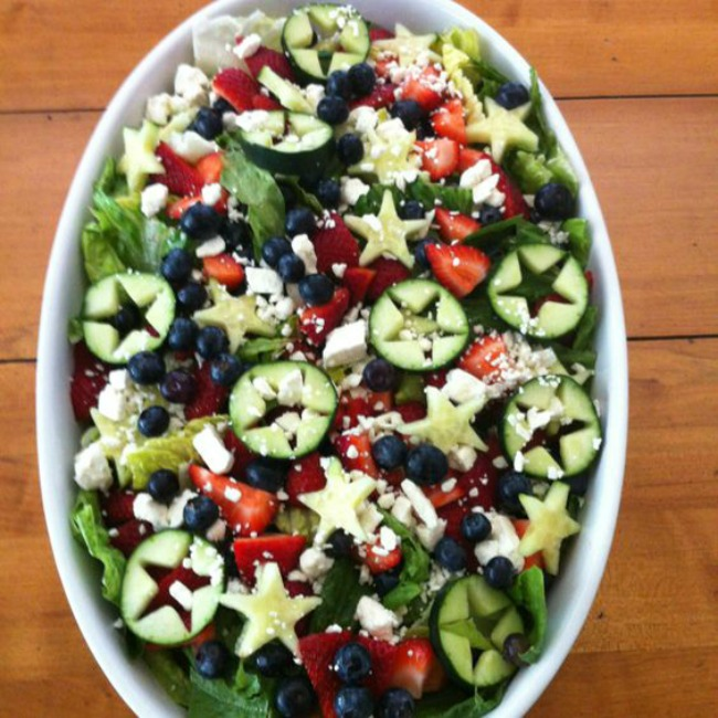 Fresh summer salad, red white and blue for Fourth of July