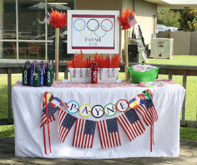 USA olympic party beverage table