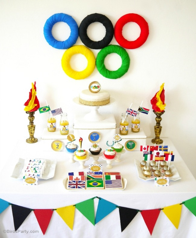 Olympic party with DIY torches