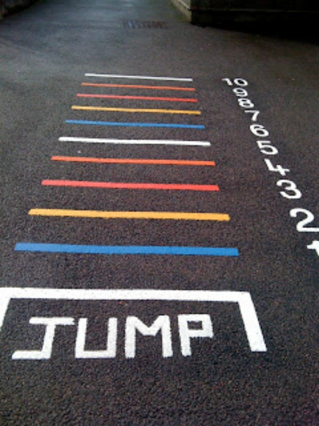 Long jump activity for olympic party