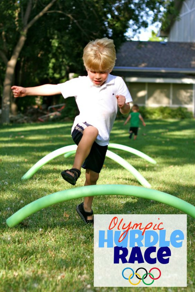 Olympic party activity- DIY pool noodle hurdle