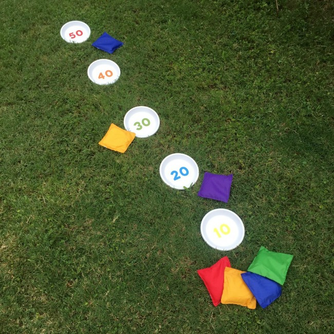 Kids olympic party activity- bean bag toss