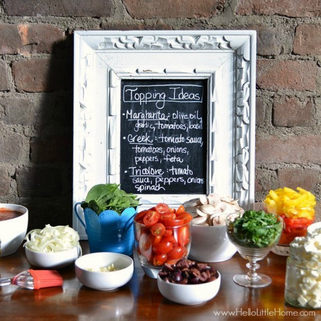 Pizza party chalkboard topping menu
