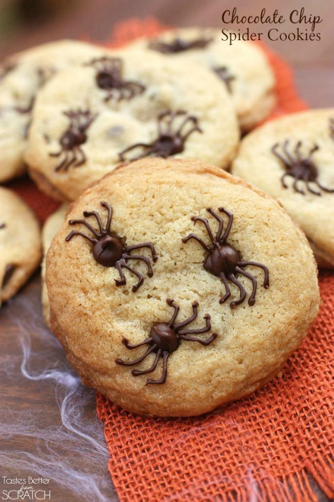 Spooky chocolate chip spider cookies, Halloween treat