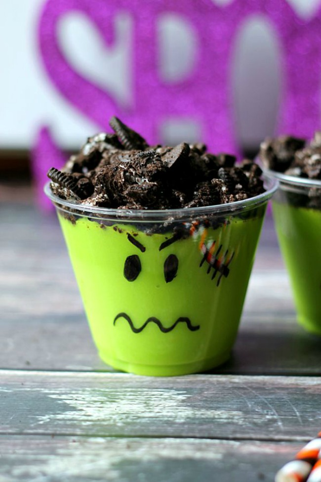 Spooky Halloween treat, Frankenstein pudding cups