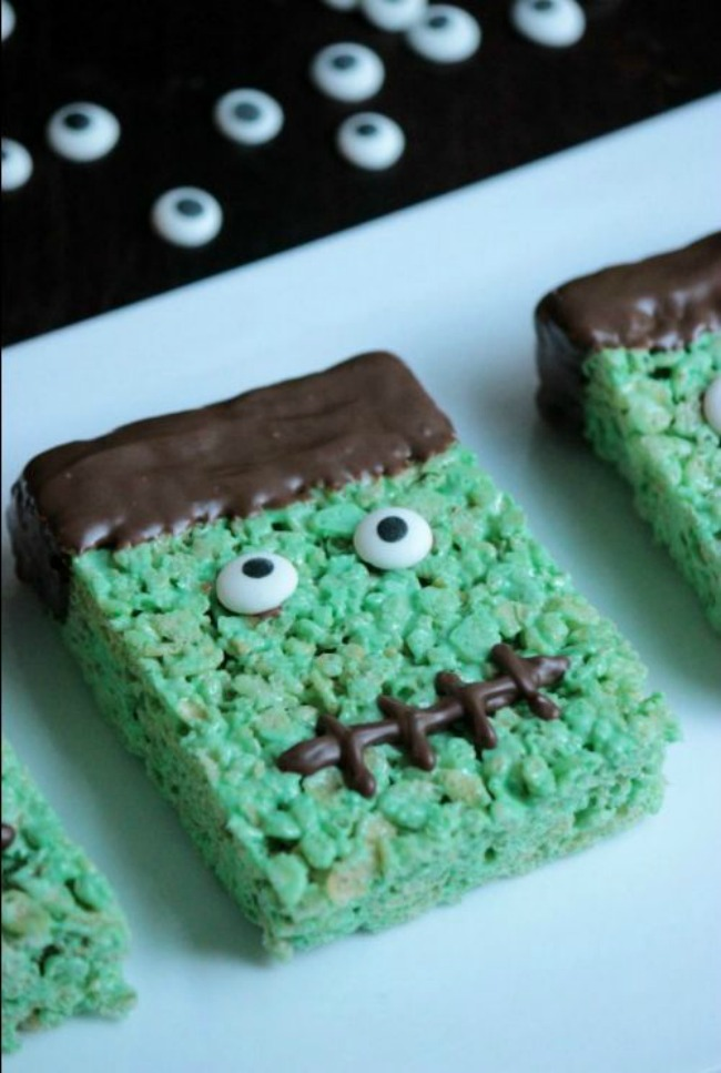 Frankenstein rice krispy treat, Halloween treat