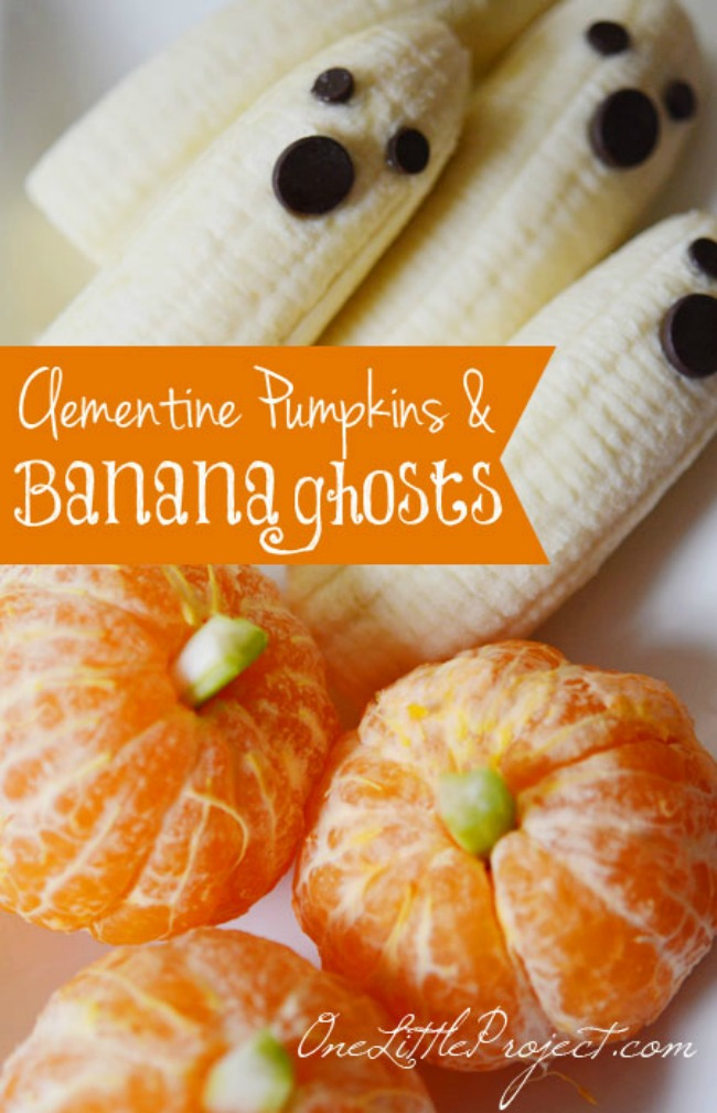 Healthy Halloween snack, ghost and pumpkin fruit treats