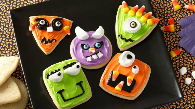 Creepy monster Halloween sugar cookies
