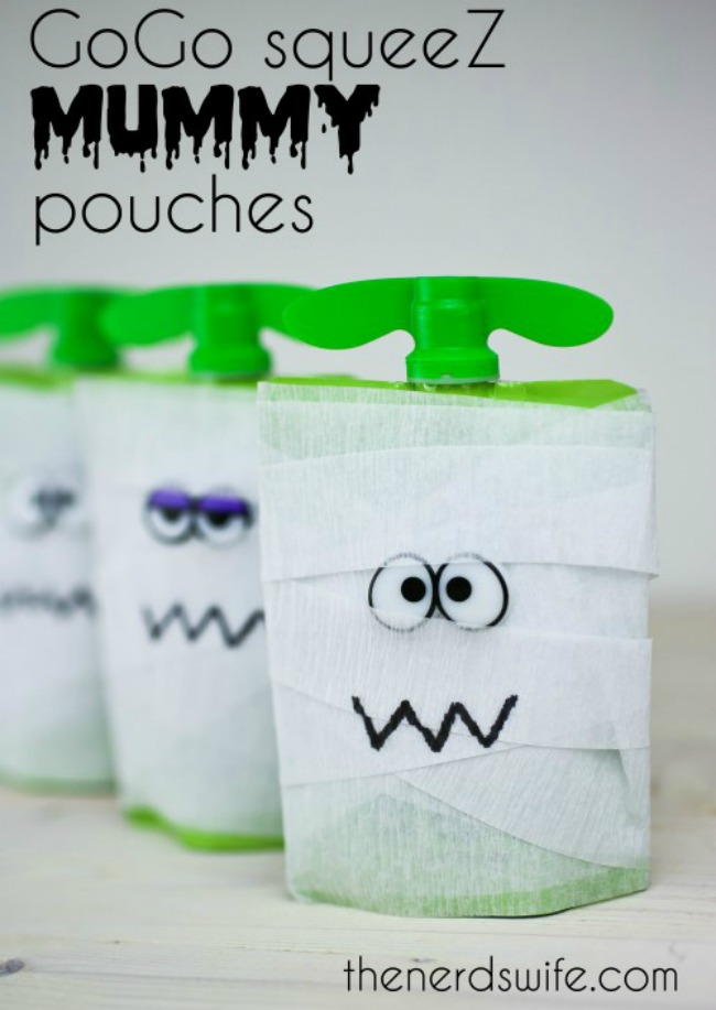 Healthy Halloween snack, mummy fruit pouch