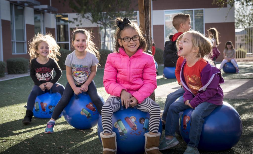 Having fun on the playground in kindergarten