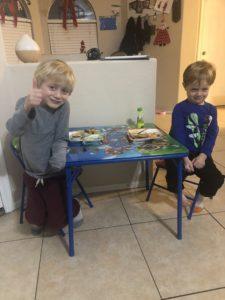 boys enjoying food
