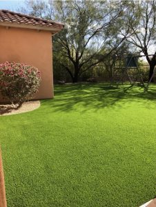 The Boyce's yard after artificial grass installation